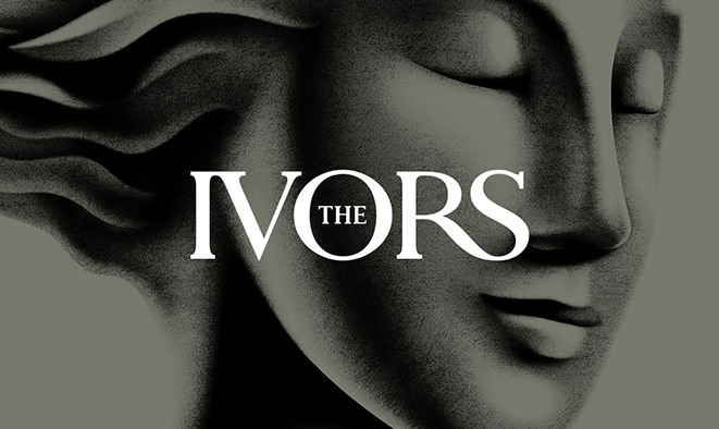 The Ivors logo with Euterpe statuette
