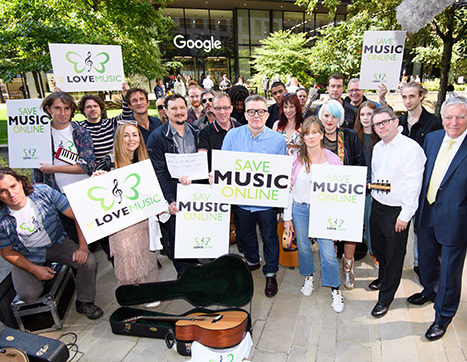 BASCA campaigning outside Google London offices for LoveMusic campaign for the Article 13 European Copyright Directive