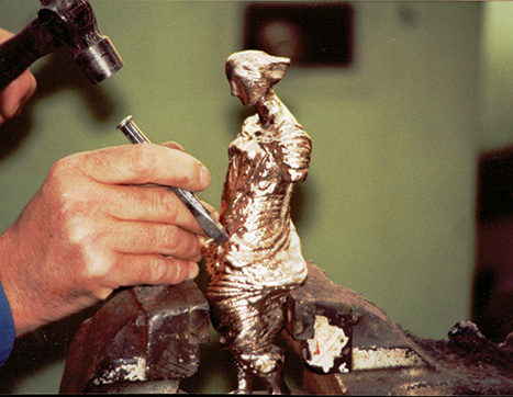An Ivor Novello award statuette being made by hand from solid bronze