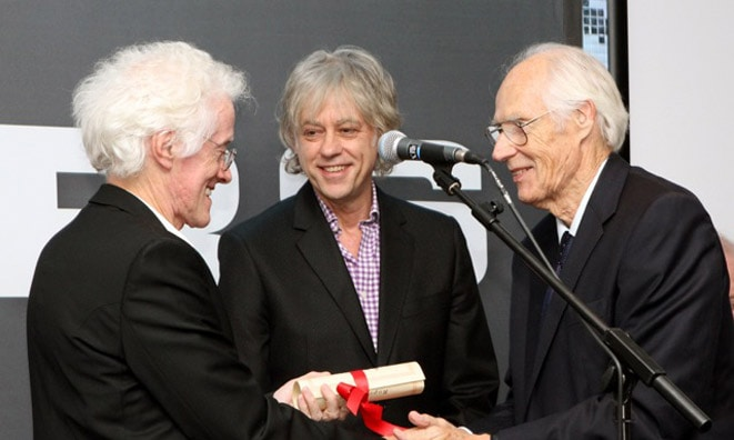 Rupert Hine receiving his APRS Fellowship Award - with Bob Geldof and Sir George Martin © Gilead Limour (APRS) 2011