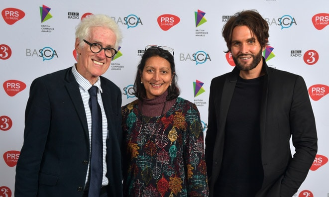Rupert Hine with wife Fay and Marc Sylvan at The Ivors Composer Awards 2018 © Mark Allan